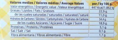 Sonrisas choc - Información nutricional
