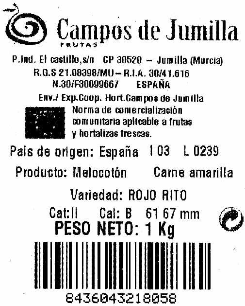 """Melocotones """"Campo de Jumilla"""" - Ingrédients"""