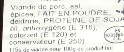 Chiffonnade Chorizo Extra - Ingredients - fr