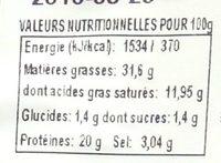 Chiffonnade Chorizo Extra - Nutrition facts - fr