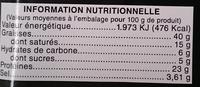 Saucisse sèche pur porc sans gluten - Nutrition facts - fr