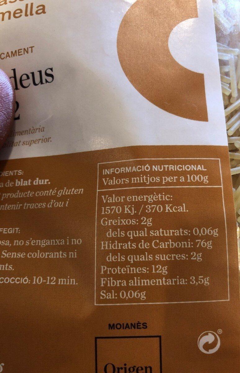 Fideus - Información nutricional