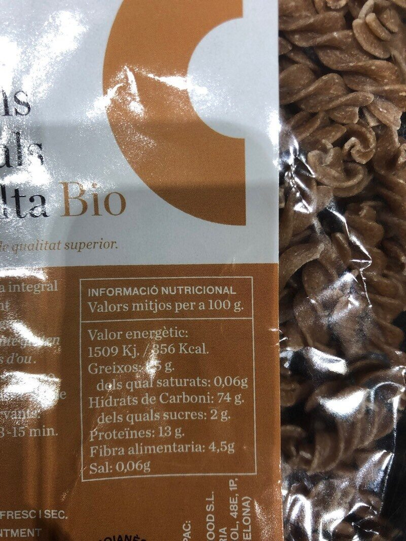 Espirales integrales de espelta - Información nutricional