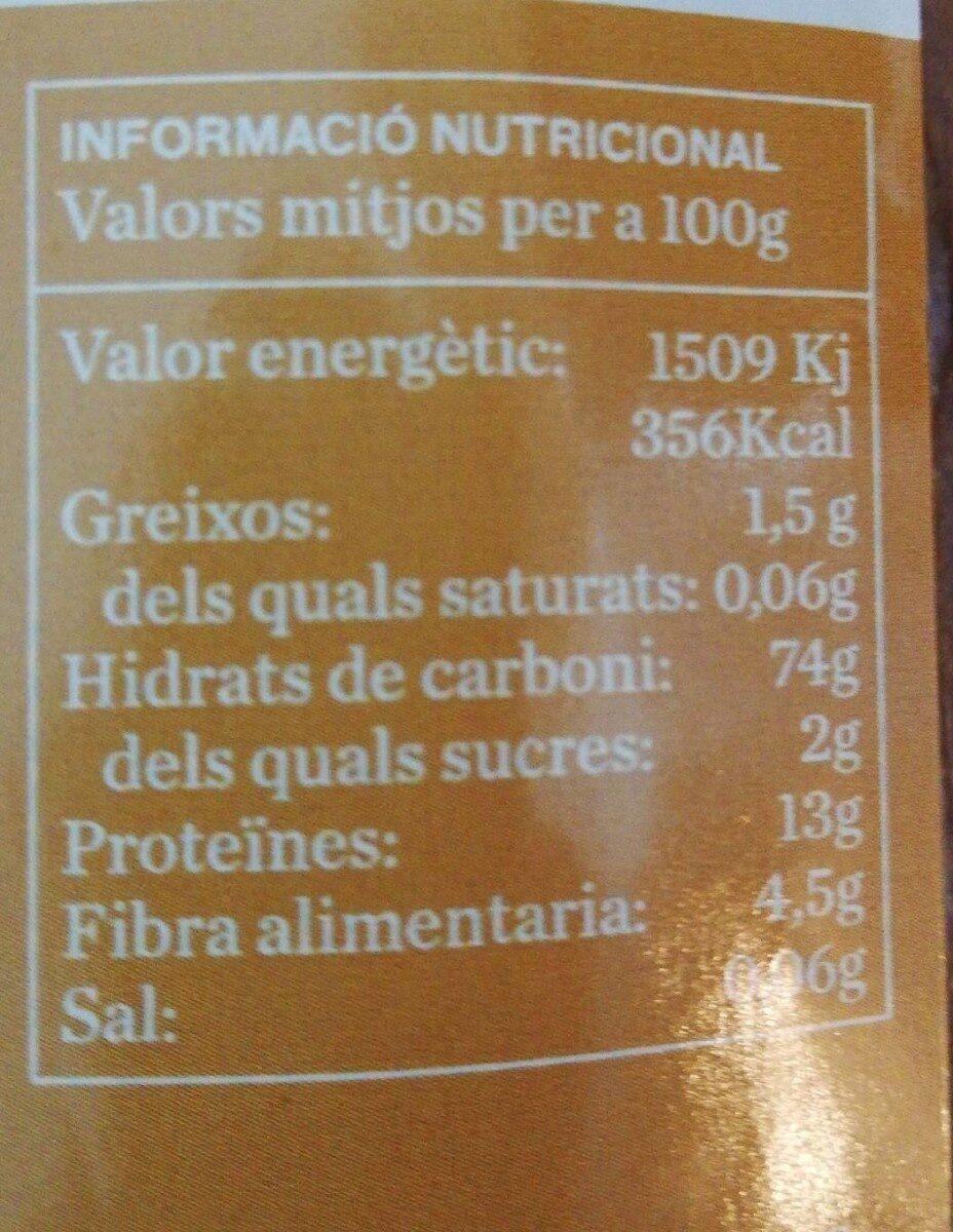 Spaguetis integrales espelta - Informations nutritionnelles - es