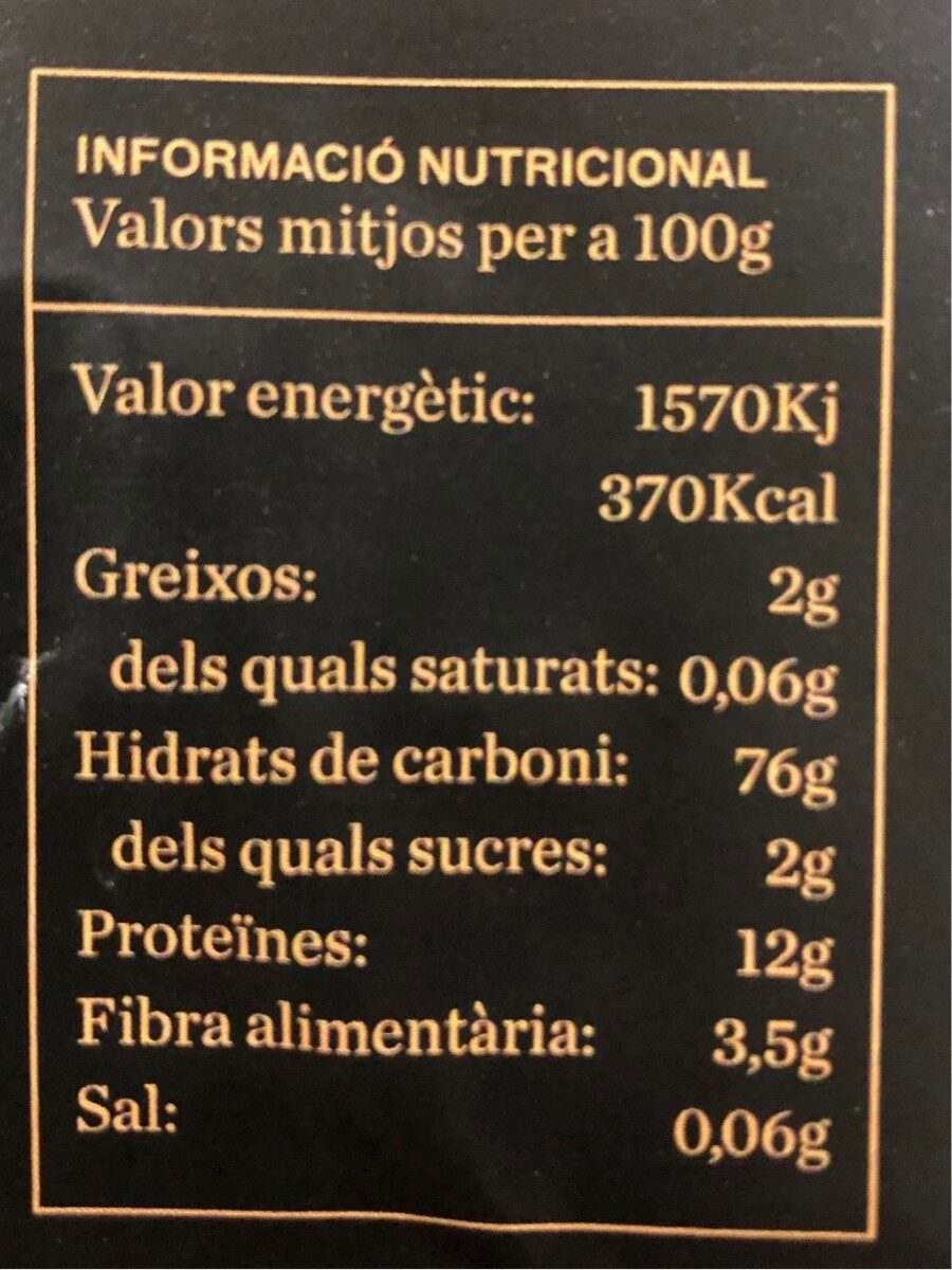 GALETD DE NADAL BIO - Información nutricional - es