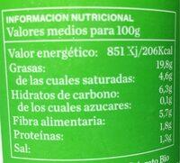 Aceitunas arbequinas del priorato - Informations nutritionnelles - es