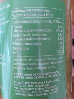 Crema de calabacín ecológica de verduras frescas - Informations nutritionnelles