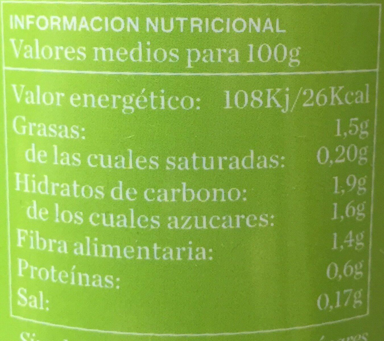 Crema de puerro ecológica de verduras frescas cocidas al vapor - Informations nutritionnelles