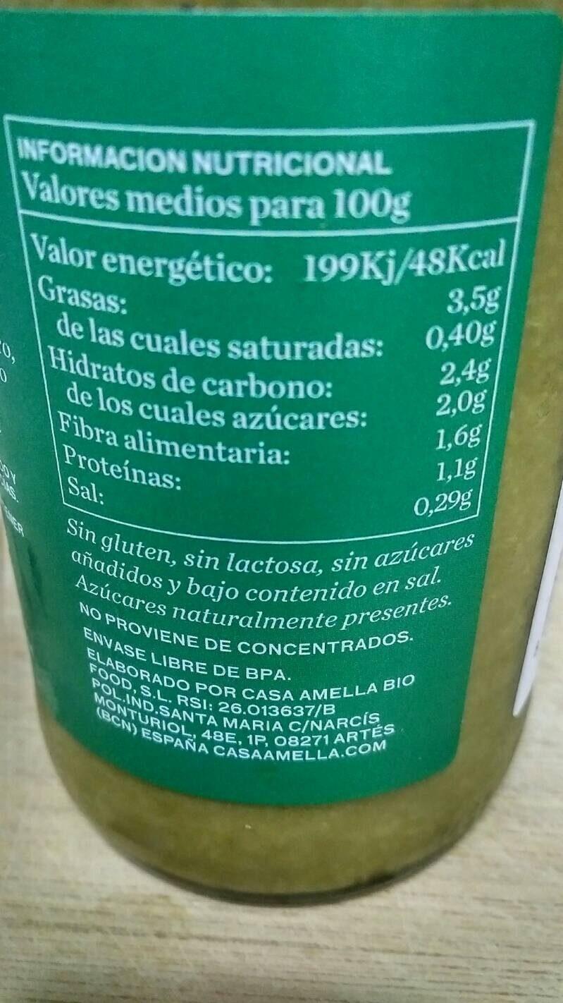 Crema de verduras ecológicas cocidas al vapor - Información nutricional