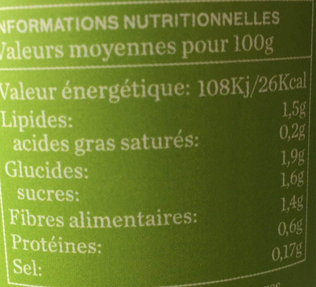 Velouté de poireaux BIO - Informations nutritionnelles - fr