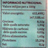 Tofu bio - Informations nutritionnelles - ca