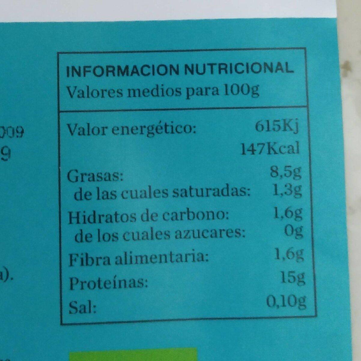 tofu bio - Información nutricional - es