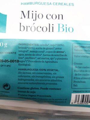 Hamburguesa cereales Mijo con brócoli Bio - Ingrédients