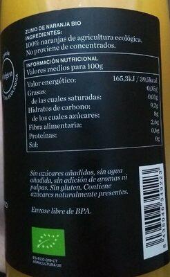 Zumo naranja - Informations nutritionnelles - es