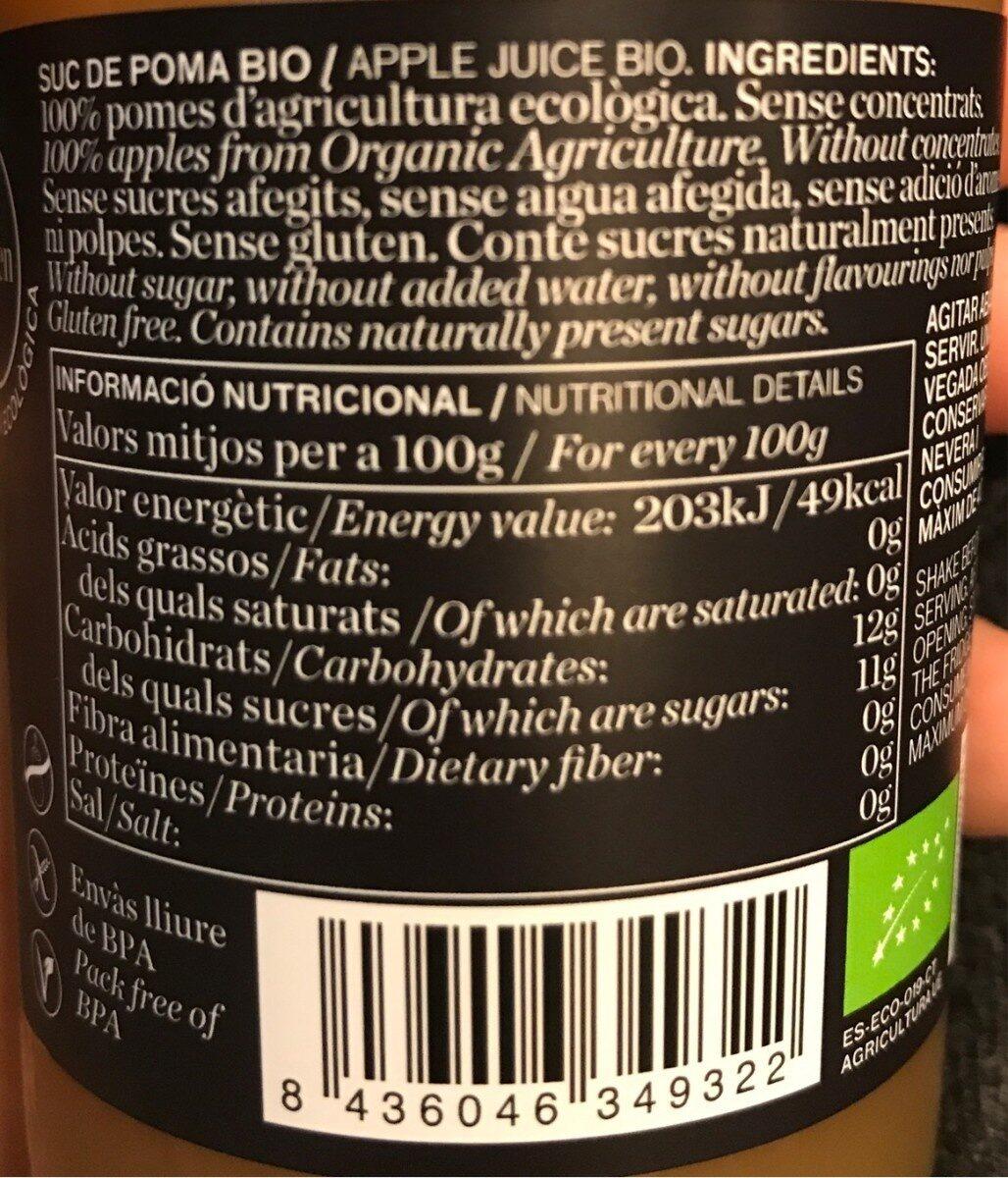 Suc de poma Bio - Informations nutritionnelles