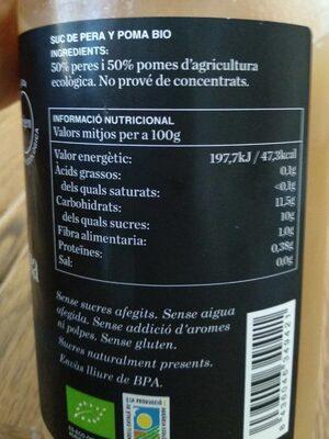 Zumo pera - Información nutricional