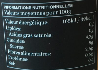 Jus d'orange BIO  100% pur jus - Informations nutritionnelles - fr