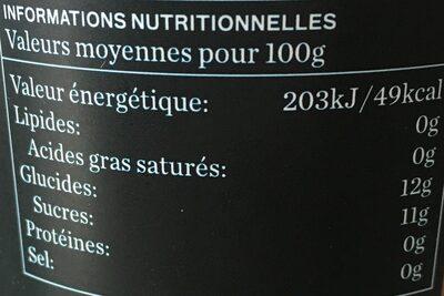 Jus de pomme BIO - 100% pur jus - Informations nutritionnelles - fr