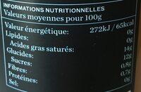 Jus BIO peche et raisin -100% pur jus - Informations nutritionnelles - fr