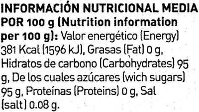 Caramelos sabor menta - Información nutricional