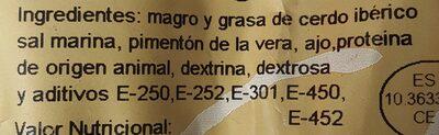 Chorizo extra de cerdo iberico - Ingredientes