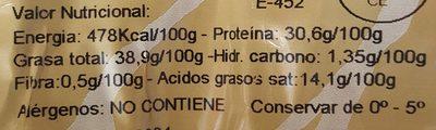 Chorizo extra de cerdo iberico - Información nutricional