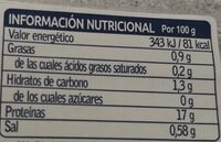 Pulpo rodaja cocido - Información nutricional