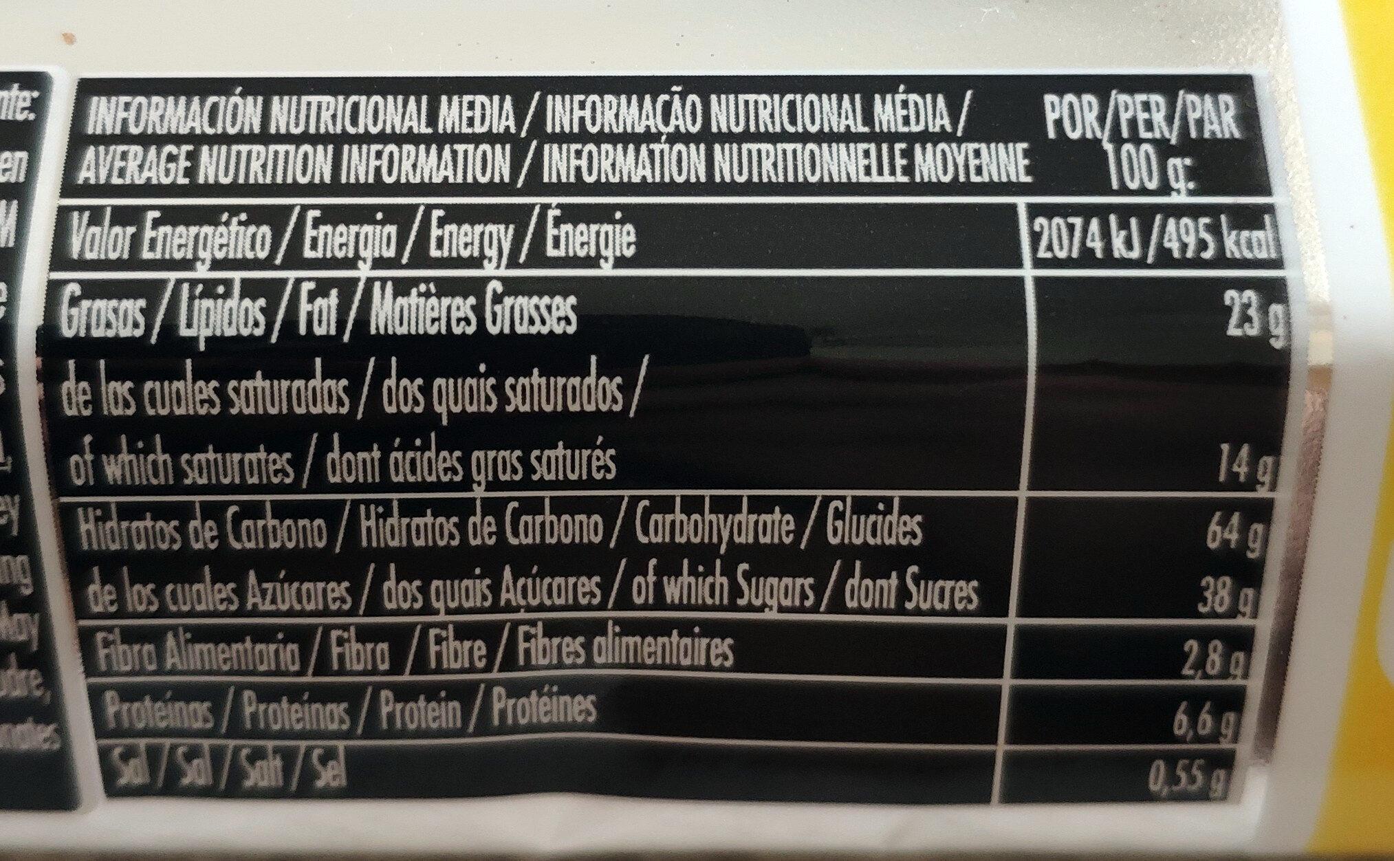 Filipinos chocolate blanco - Informació nutricional - es