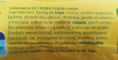 Sándwich De Crema Sabor Limón - Ingredientes - es
