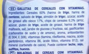 Galletas a cucharadas con cereales y vitaminas - Ingredientes
