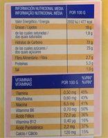 Galletas a cucharadas con cereales y vitaminas - Información nutricional