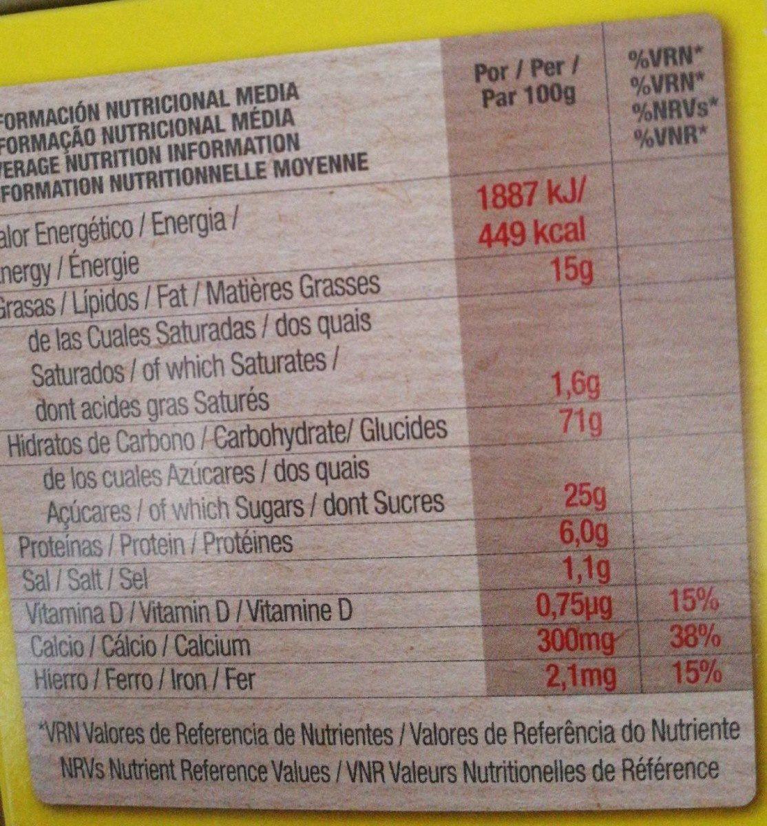 Chiquilin ositos sabor miel - Información nutricional - fr