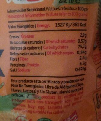 Harina de maiz precocida - Información nutricional - es