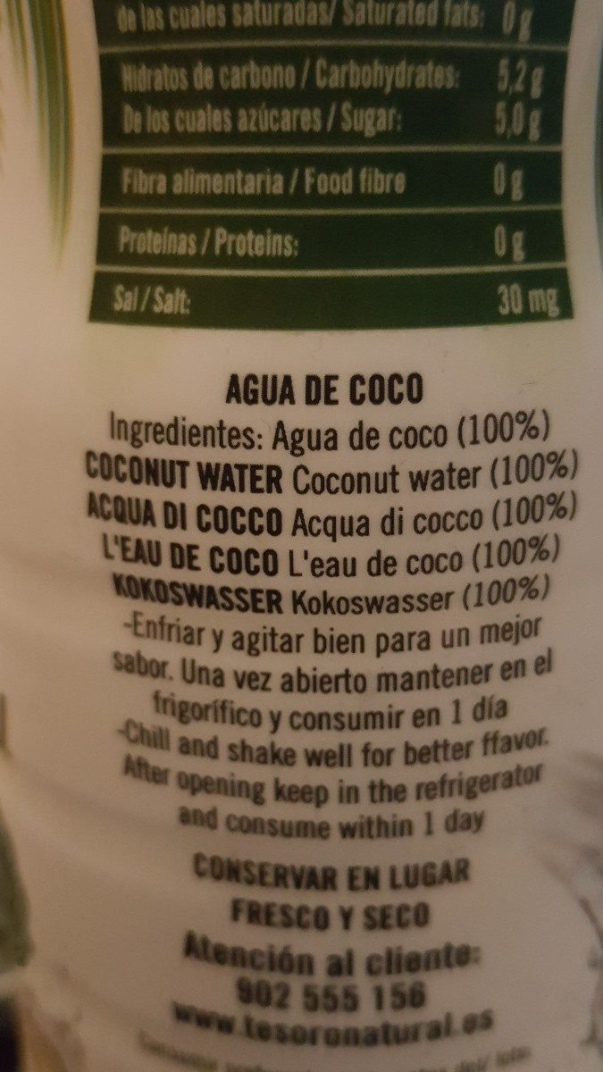 Agua de coco natural - Ingrédients