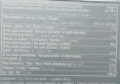 Galleta Maria - Información nutricional