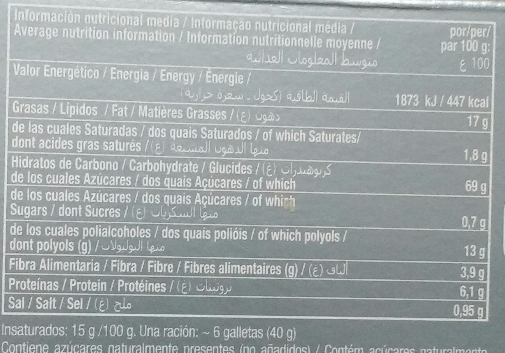 Galleta Maria - Información nutricional - es