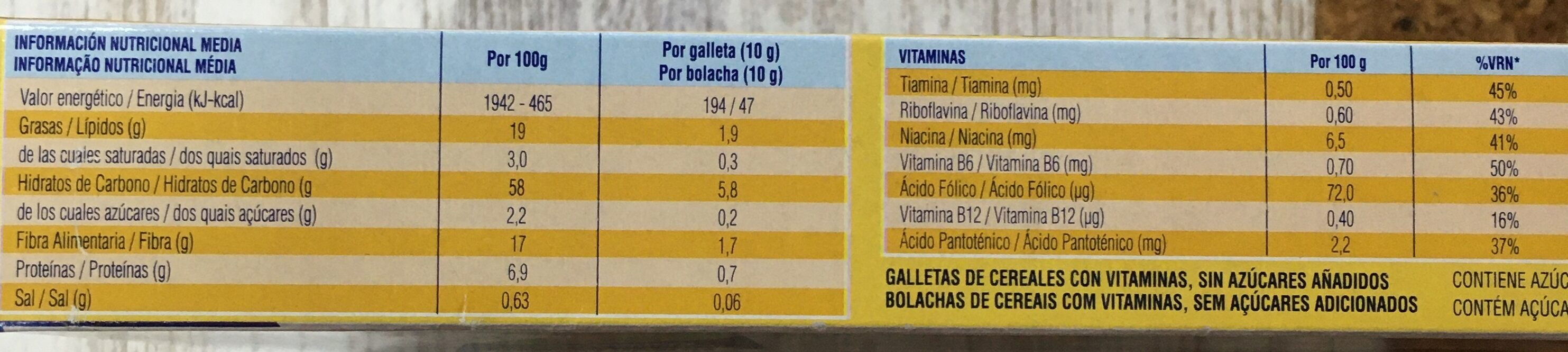 Cookienss Dinosaurus galletas de cereales con vitaminas - Nutrition facts