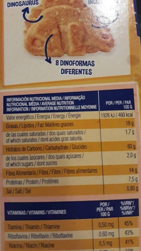Cookienss a cucharadas galletas de cereales con - Información nutricional - es