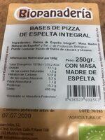 Base de pizza de espelta integral - Nutrition facts - es