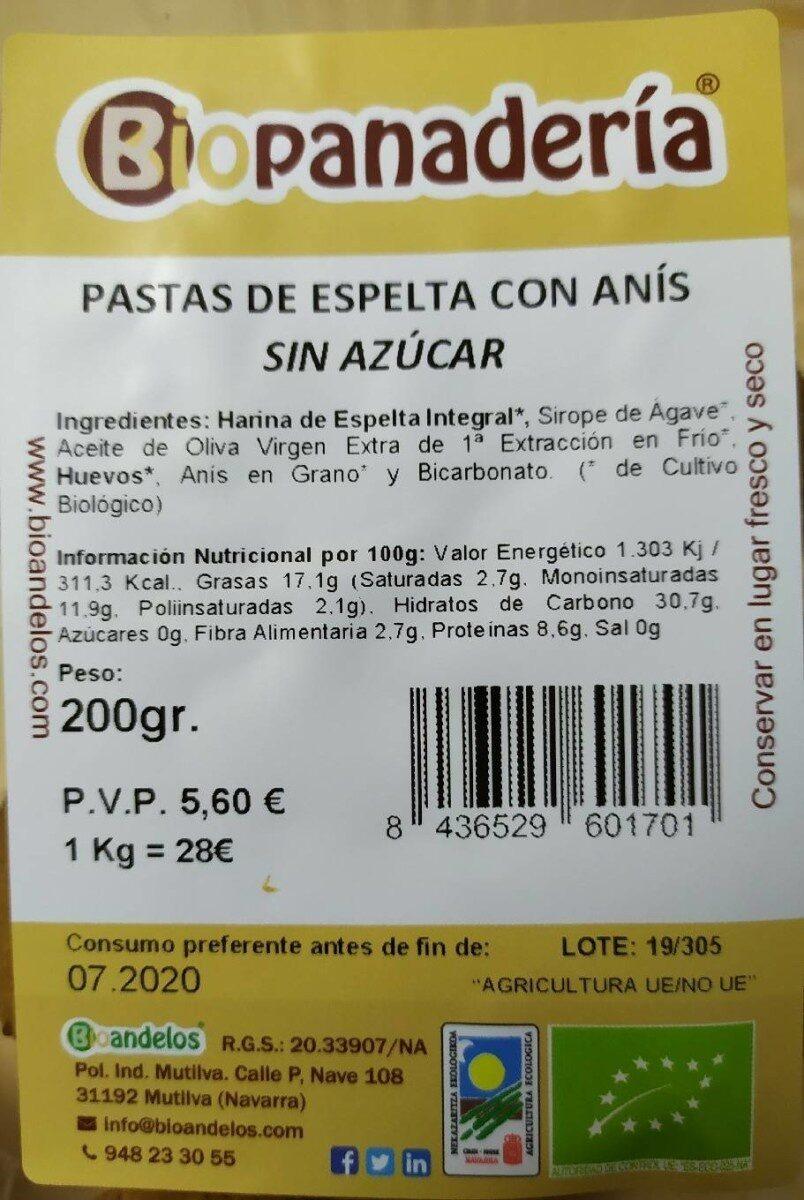Pastas de Espelta con Anís (sin azúcar) - Nutrition facts - es