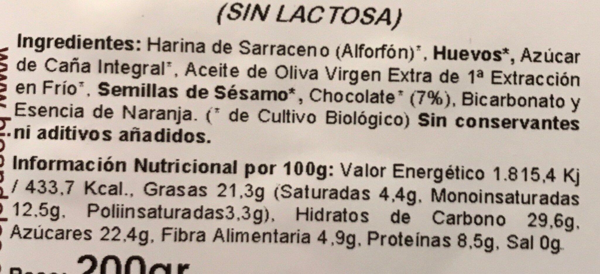 Pastas de Sarraceno con Chocolate - Nutrition facts