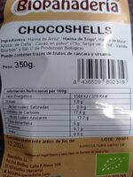 Chocoshells Biopanaderia - Nutrition facts - es