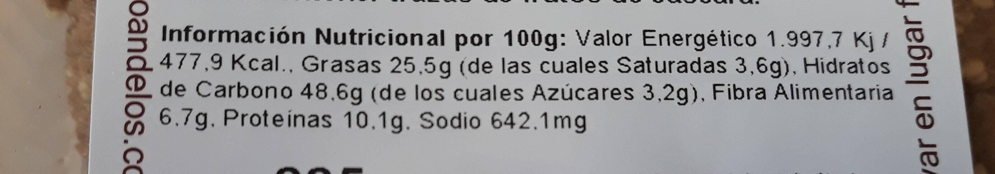 Saladinas de Espelta - Informations nutritionnelles