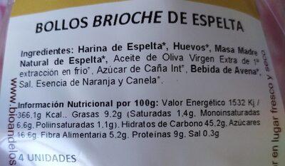 Bollos Brioche de Espelta - Información nutricional