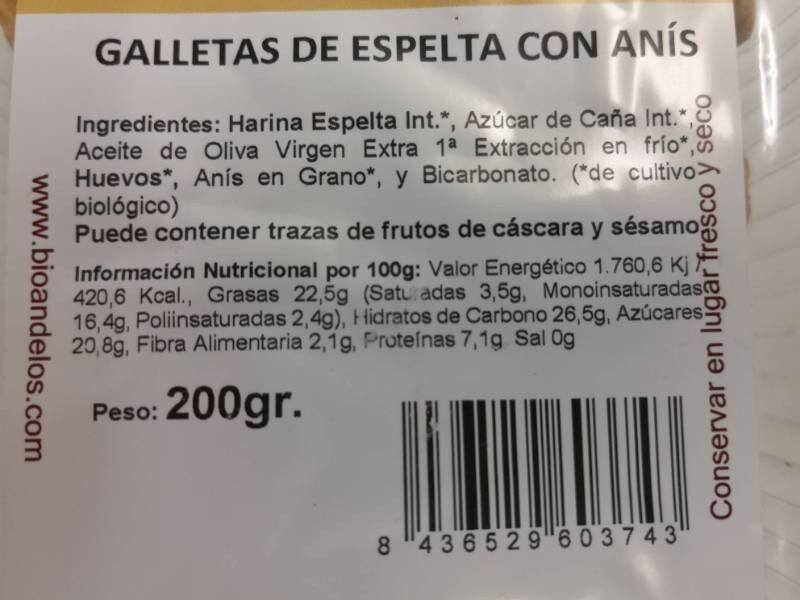 Galletas de Espelta con Anís - Nutrition facts - es