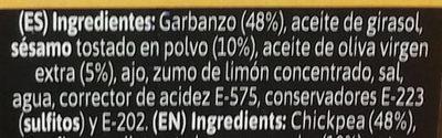 Hummus con aceite de oliva - Ingredientes