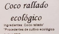 Coco rallado ecológico - Ingredientes