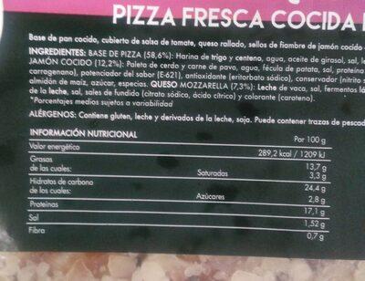Pizza jamon queso - Valori nutrizionali - es