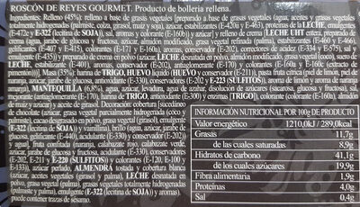 Roscón de reyes Gourmet - Ingredientes - es