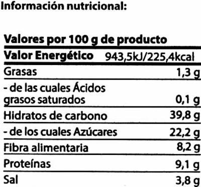 Tomate seco - Información nutricional - es